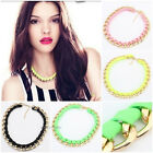Fashion Jewelry Fluorescent Color Ribbon Necklace Chain Choker Chunky Jewelry