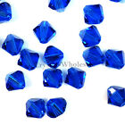4mm Capri Blue (243) Genuine Swarovski crystal 5328 / 5301 Loose Bicone Beads
