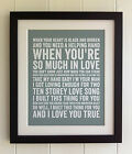 FRAMED TYPOGRAPHY LYRICS PRINT The Stone Roses Ten Storey Love Song PICTURE GIFT