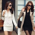 Sexy Ladies Spring Autumn Plain V-Neck Long Sleeve Slim Casual Mini Tea Dresses