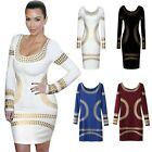 Celeb Egypt Gold Foil Print Scoop Neck Bodycon Pencil Skirt Cocktail Party Dress