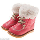 Girl's Boots Squeaky Shoes Children's Toddler Kickers Style Red & Fleece Trim