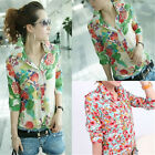 New Women Long Sleeve Shirt Button Down Blouse Casual Top Floral T-shirt Slim