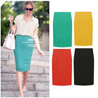 Women High Waist Fit Knee Length Straight Solid Stretch Business Pencil Skirt