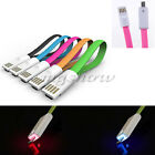 1M LED Light Flat V8 Micro USB Charger Data Sync Cable For Mobile Smart Phones