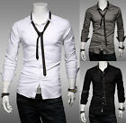 Korean Mens Luxury Stylish Dress Shirts Long Sleeve Slim Casual Shirts With Tie