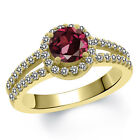 1.50 Ct Round Red Rhodolite Garnet White Created Sapphire 14K Yellow Gold Ring