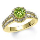 1.40 Ct Round Green Peridot White Created Sapphire 18K Yellow Gold Ring
