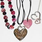 HEART PENDANTS W NECKLACES, Chico's Brown, Pink Stone, Red/Pink Beads, Silver