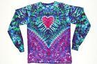 Adult Long Sleeve 5X 6X TIE DYE Heart V Blotter TShirt art boho love peace