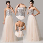 Sequins Tulle Formal Party Prom Homecoming Cocktail Bridal EVENING Dress 6/8/10+