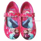 Hot Pink Snow Princess Elsa & Anna Slip On Mary Jane School Shoes Kids Girl 3206