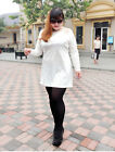 PN New Large Size Ladies Fashion White Pullover Floral Mini Long Sleeve Dress