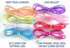 NTJ FLAT TUBE 3.5mm stereo audio aux auxiliary cable for ipod iphone 4 5S 6 plus