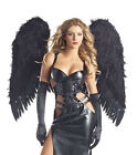 !NEW! SPECTACULAR SEDUCTIVE DARK GOTHIC ANGEL W FEATHER WINGS HALLOWEEN COSTUME