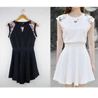 New Arrive Womens Vintage Floral Ruffle Evening Cocktail Prom Party Mini Dress H