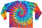 Adult Long Sleeve TIE DYE Rainbow Spiral T Shirt plus sizes 2X 3X 4X furthur gd