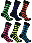 3 Mens Neon Teddy Boy Fancy Dress Party Socks / Rugby Stripe / UK 6-11