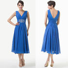 Vintage Long Chiffon Blue Evening Party Bridesmaid Ballgown Prom Cocktail Dress