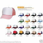 SUMMER CLASSIC NEW BLANK MESH TRUCKER HAT HATS CAP CAPS WHITE TWO TONE SNAPBACK