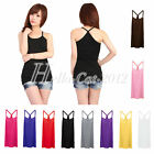 New Women Y-Back Cotton Blend Muscle Cami Tank Top Basic Vest T-shirt Sleeveless