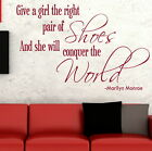 PAIR OF SHOES CONQUER THE WORLD wall art sticker quote transfer graphic DAQ19
