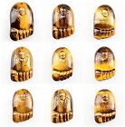 0847 Carved tiger eye foot pendant bead
