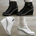 2ssg05111 synthetic leather 8.3cm wedge heel sneakers Made in Korea