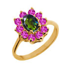 1.45 Ct Oval Tourmaline Green Mystic Topaz Pink Sapphire 18K Yellow Gold Ring