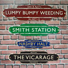 Rusty Old Railway Totem Station Sign, Personalised Metal Sign, Old Train Sign