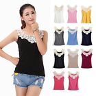 Sexy Ladies Lace Flower Crochet Ribbed Tank Top Sleeveless T-shirt Casual Cami