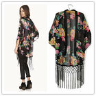 Women Tassel Floral Batwing Sleeves Kimono Hot  Blouse Jacket Coat 038 UKFO