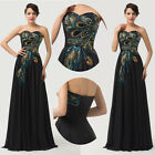 Retro Peacock Chiffon Long Prom Ball Gown Banquet NEW Cocktail Quinceanera Dress