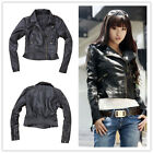 Women's Biker Jacket PU Faux Leather Motorcycle Slim Girl's Short Zip Coat Black