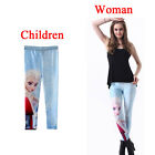 Frozen Elsa Anna Print Leggings Kids + Adult Tights Pants Parent-child outfit