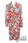 Coral Floral Print Vintage Rayon Cotton Robe Dressing Gown Wedding Bride