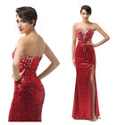 Shiny Red Wedding Dress Bridal Bridesmaid Ball Gown Formal Evening Prom Dresses