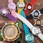 1pc Faceted Crystal Dial Girl Lady Unisex Case Quartz Analog Watch Candy Color