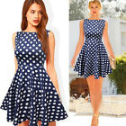 Women Celeb Spring Summer Sleeveless Crew Neck Polka Dot Skater Party Mini Dress