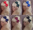 NEW BIG BOW SATIN FABRIC ALICE HAIR BAND HEADBAND 50s GLAMOUR 80s RETRO SCHOOL