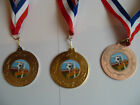 FOOTBALL MEDALS 50MM METAL WITH RIBBON AND GOAL CENTRE = GREAT QUALITY