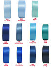 "15y 6mm 1/4"" Blue Shades Premium Double Sided Faced Satin Ribbon Occasions Eco"