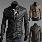 Sexy Hot Men's Slim Fit Top Designed Sexy PU Leather Jacket Coat 3 color-US BD
