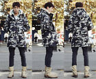 Brand New Men Camouflage fur collar hoody jacket trench coat parka Outwear UK FO