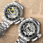 Skeleton Mechanical Casual 52MM Case Analog Numeral Watch Big Mens Size +Box