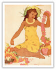 Lei Maker Hawaii Menu Cover Royal Aloha Hotel Vintage Art Poster Print Giclee