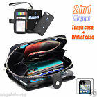 Black Zip Purse Leather Case Cover For Apple iPhone 4S 4+Film