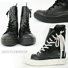 Avant Garde Mens High Top Diagonal Twist Zipper Leather Sneakers GENTLERSHOP