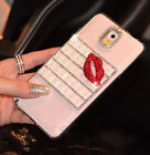 Luxury White Bling Diamond Red Lip Clear Case Cover For Samsung Mobile Phone LCZ