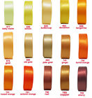"10y 25y 22mm 7/8"" Yellw Gold Orange  Double Faced Satin Ribbon Eco Clearance"